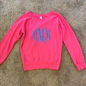 Girls pink monogrammed lightweight sweatshirt MMM